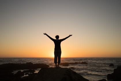 guy, man, male, people, back, stand, arms, raised, mesmerizing, nature, landscape, coast, shore, island, rocks, stones, sky, clouds, horizon, dusk, dawn, travel, shadows, silhouette