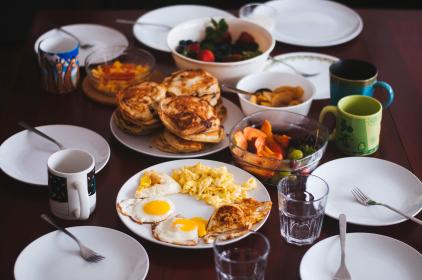 food, eat, breakfast, eggs, sunny, side, up, scrambled, yolk, pancakes, fruits, grapes, strawberries, spread, plates, forks, cups, mugs, glasses, bowls, still, bokeh