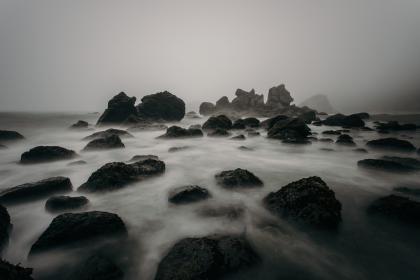 nature, water, ocean, sea, coast, rocks, stones, fog, eerie, black and white