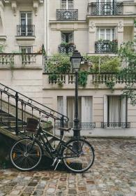 still, items, things, bicycles, parked, wrought, iron, stairs, lamp, post, french, mansion, manor, house, cobblestones, balcony, apartelle, suburbs