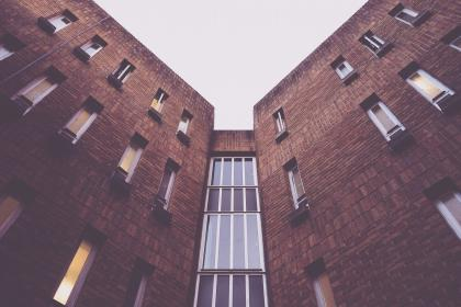 architecture, building, modern, art, structure, windows, bricks, lines, linear, shapes, patterns, perspective, sky