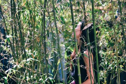 woman, girl, lady, people, side, view, stand, relax, bamboo, nature, green