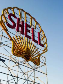 shell, billboard, gas, company, steel, letters, sky, blue