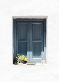 house, home, residential, cabin, cottage, exterior, gray, window, bay, potted, plants, white, wall, minimalist