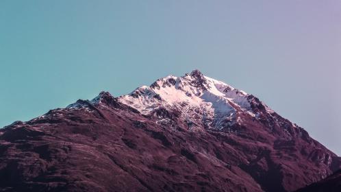 nature, landscape, mountains, summit, peaks, snow, rocks, sky, clouds, gradient, blue, pink, purple, beautiful, gorgeous