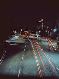 night, dark, sky, city, light, trees, road, building
