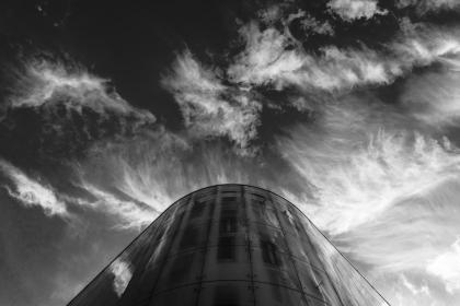sky, cloud, nature, building, dark, reflection, black and white