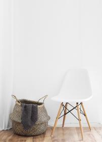 still, items, things, basket, chair, modern, contemporary, interior design, wood, floor, white, minimalist
