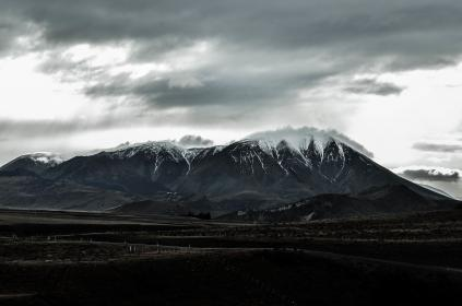 nature, landscape, mountains, slope, summit, peaks, snow, farms, plot, sky, clouds, white, gray, majestic