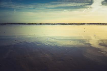 nature, beach, shore, sand, rocks, water, ocean, reflection, ripples, sky, clouds, eerie, ominous