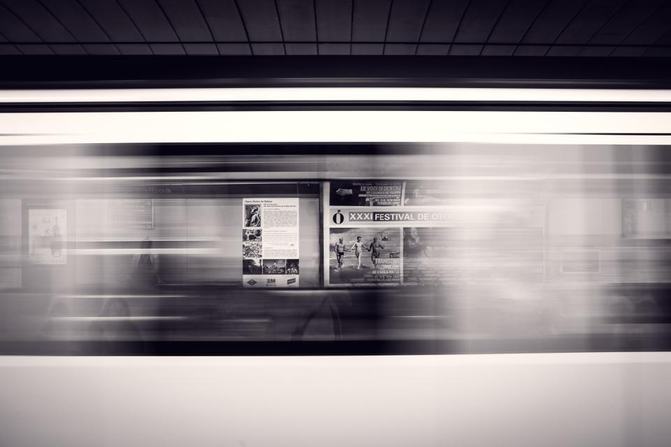 black and white, subway, station, signs, bulletin, headline