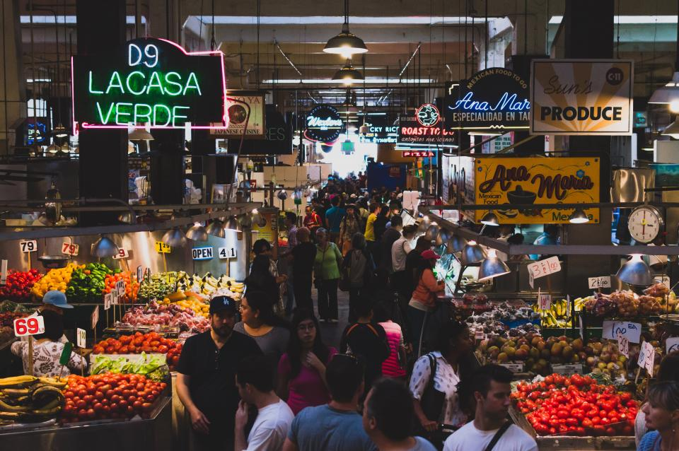 market, food, fruits, vegetables, people, crowd, busy, produce