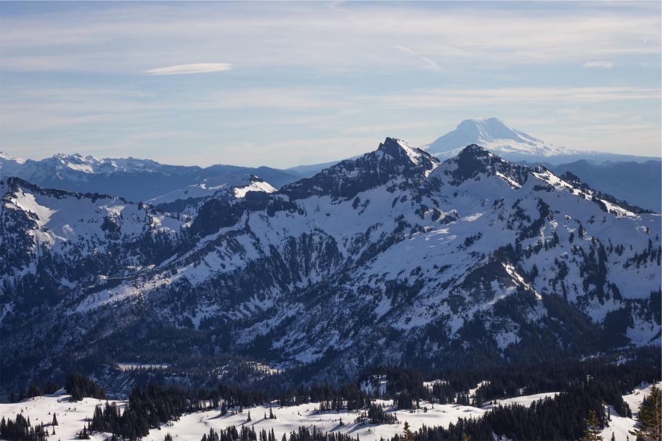 mountains, peaks, cliffs, snow, sunshine, sunny, trees, nature, sky, winter, landscape