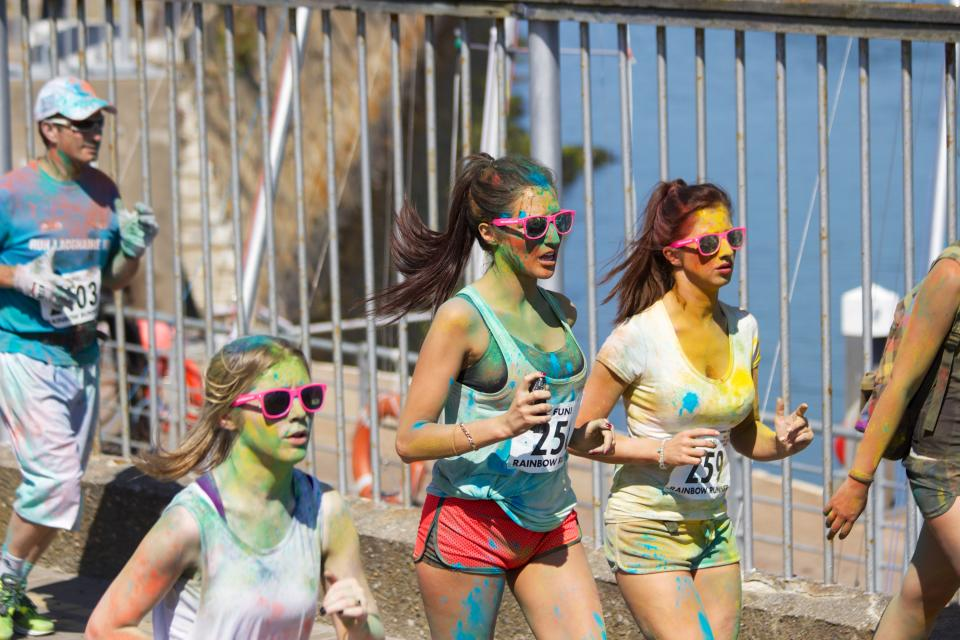 color run, rainbow run, running, runners, jogging, race, paint, young, girls, sunglasses, fitness, exercise, shorts, long hair, brunettes, people