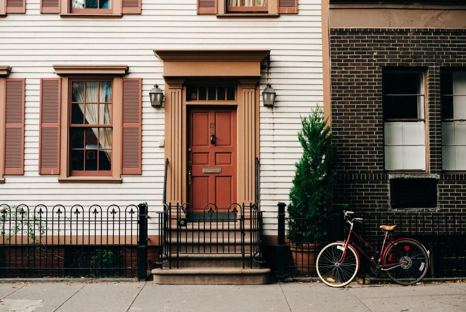 sidewalk, house, home, door, windows, shutters, bike, bicycle, city, urban, neighbourgood, neighborhood