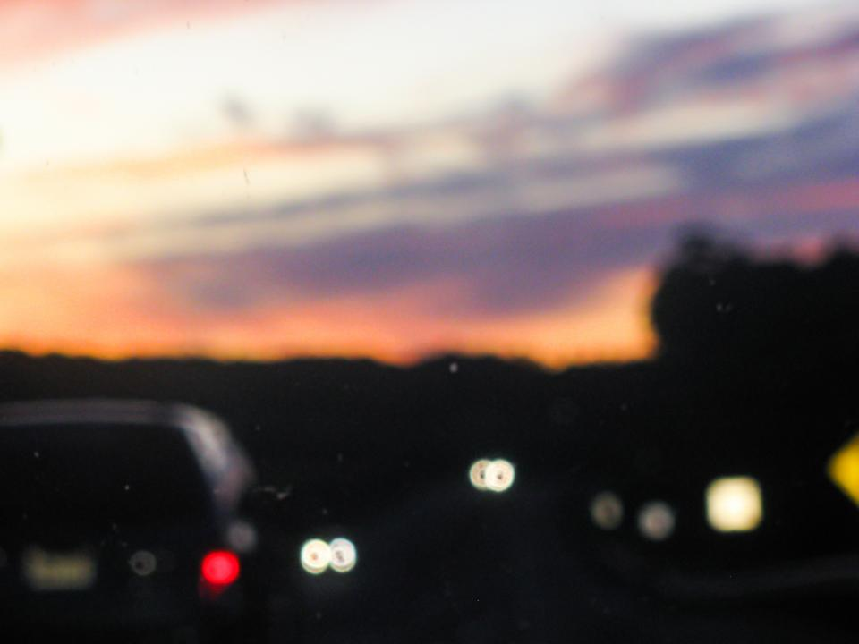 highway, cars, driving, road, sunset, dusk, evening, night, blurry
