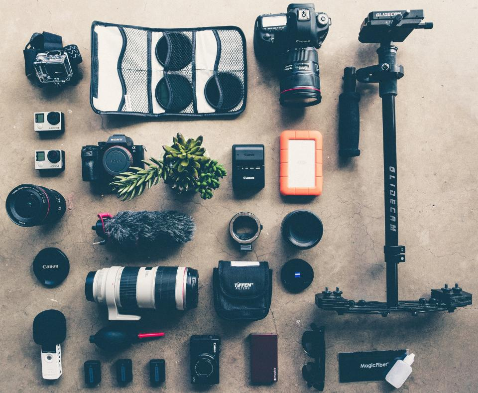 technology, photography, gadgets, camera, lens, filters, light, meter,  gopro, canon, glidecam, stabilizer, digital, sunglasses, mic, cases, plant,  batteries, flatlay, work, business, hobby, craft, gears, still | Stock  Images Page | Everypixel