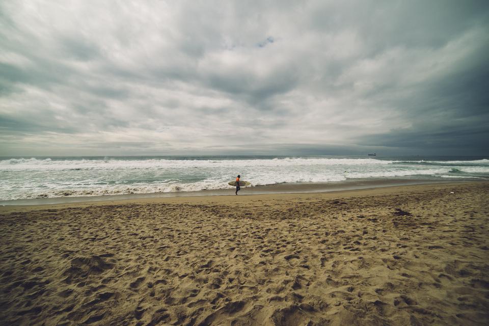 beach, sand, ocean, sea, waves, surfer, surfboard, cloudy, clouds
