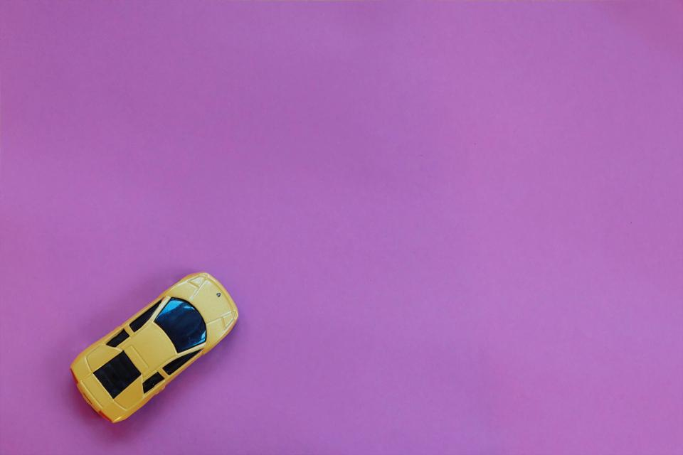 toy, car, Lamborghini, yellow, purple, objects