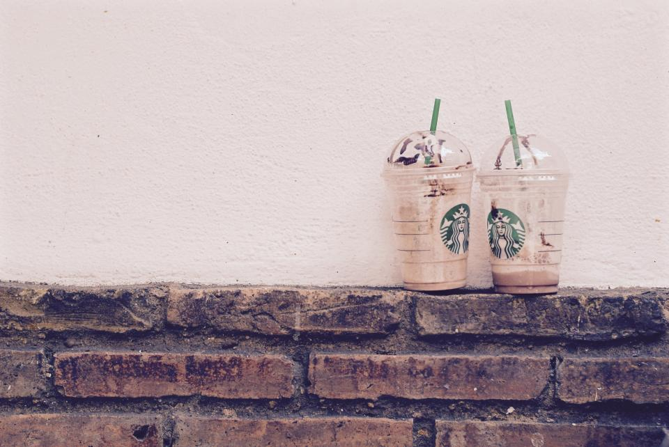 Starbucks, coffee, drinks, bricks, wall