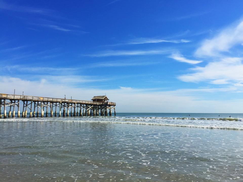 beach, florida, pier, water, ocean, blue, sky, clouds