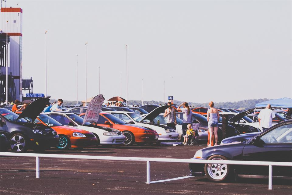 cars, car show, parking lot, hood, rims, performance, racing, people, summer, automotive