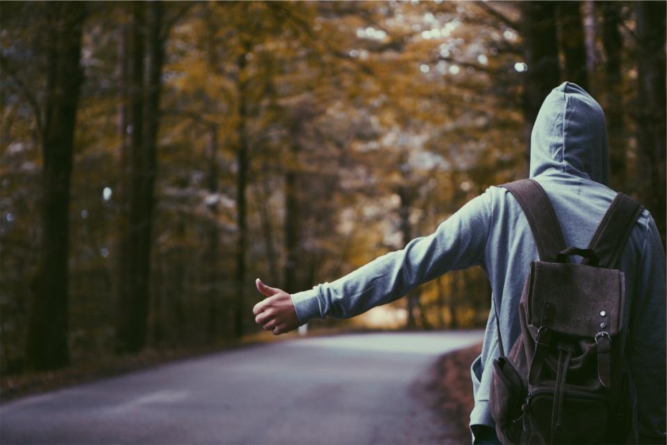 hitchhiker, thumb, hoodie, backpack, knapsack, guy, man, people, road