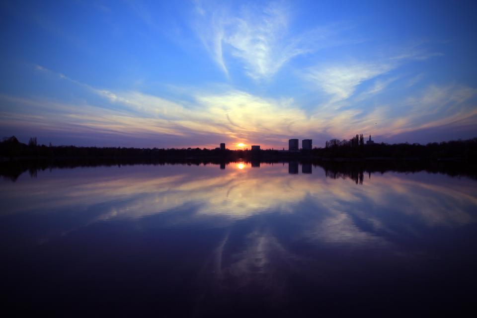 sunset, sky, dusk, night, dark, skyline, buildings, water, reflection, clouds