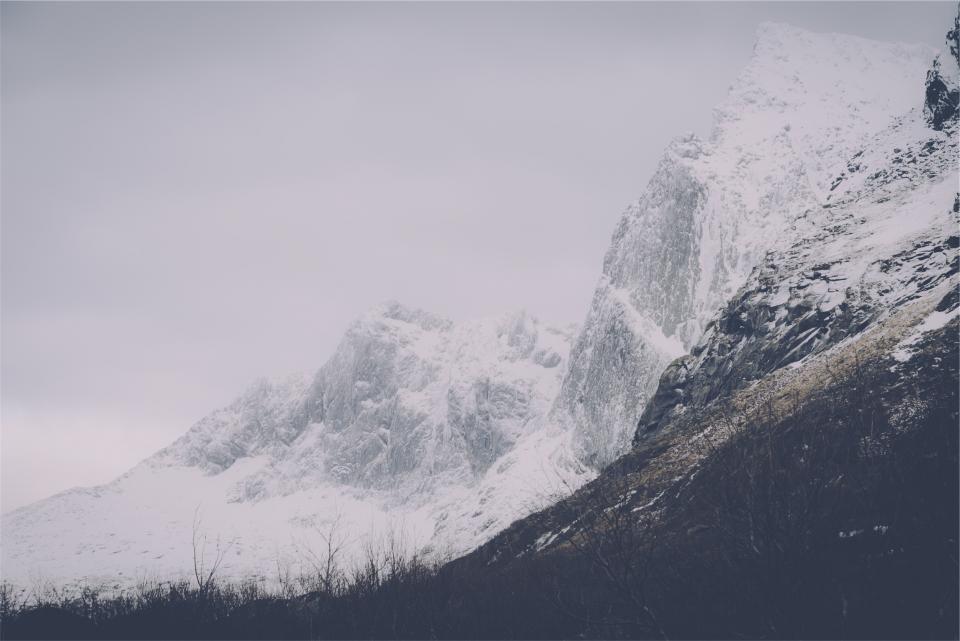 mountains, peaks, cliffs, rocks, snow, hills