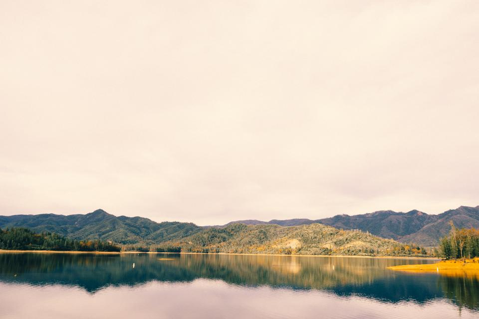 water, lake, mountains, nature, outdoors, hills, sky