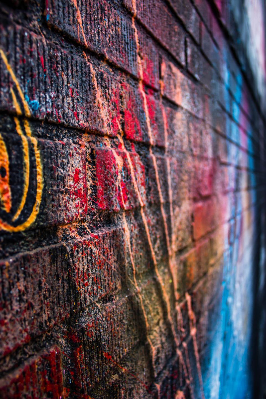 street, art, colors, colours, wall, bricks, gravity, spray paint