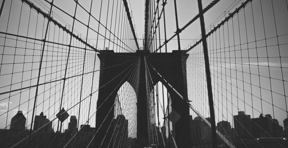 Brooklyn Bridge, architecture, black and white, sky, city, urban