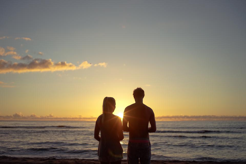 sunset, people, silhouette, guy, man, girl, woman, couple, love, romance, dusk, sky, clouds, ocean, sea, waves, shore, beach, nature