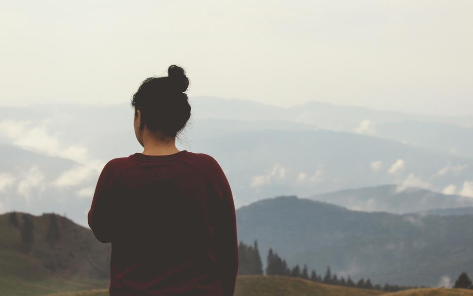 girl, looking, thinking, landscape, nature, mountains, valleys, hills, fields, adventure, outdoors, sweater, brunette, bun, people