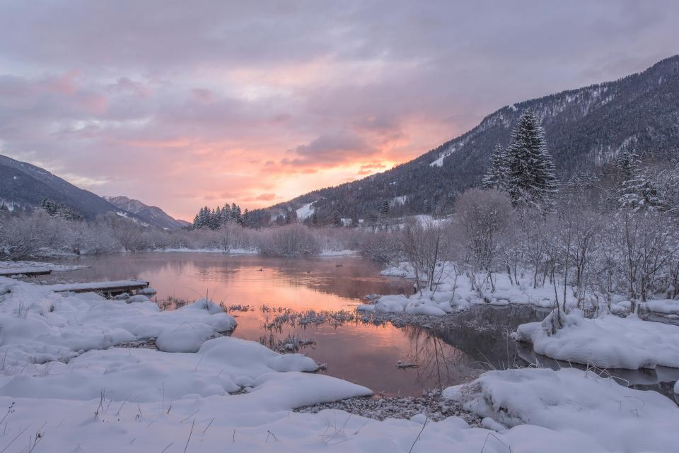 river, water, snow, ice, winter, cold, sunset, dusk, mountains, landscape, nature, outdoors