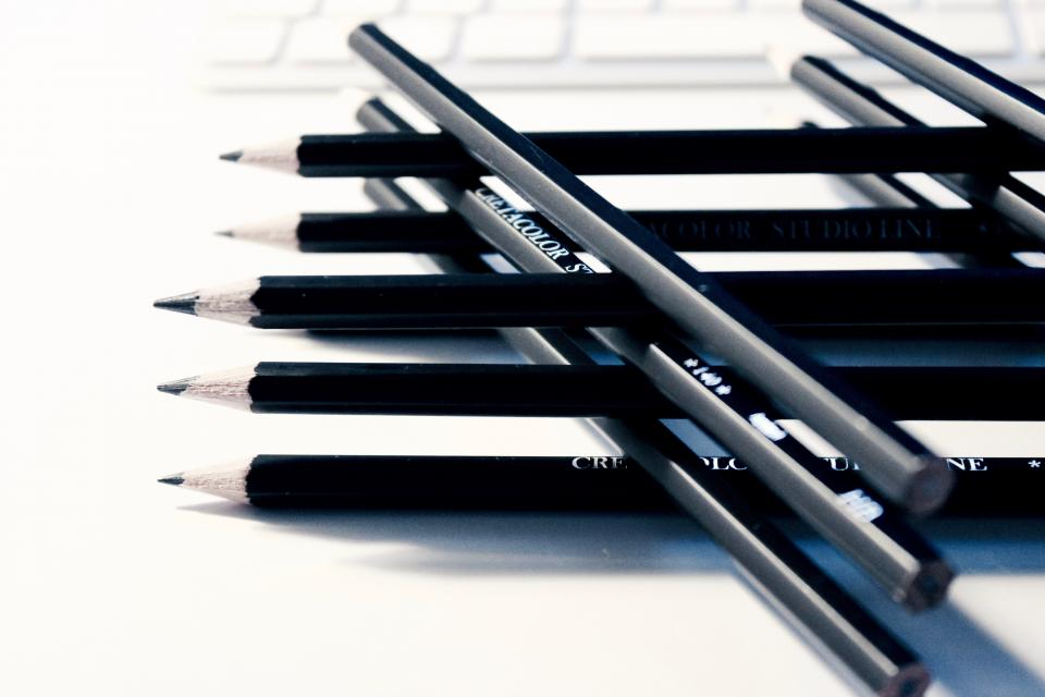 pencils, writing, drawing, creative, design, business, office, desk, work, black and white