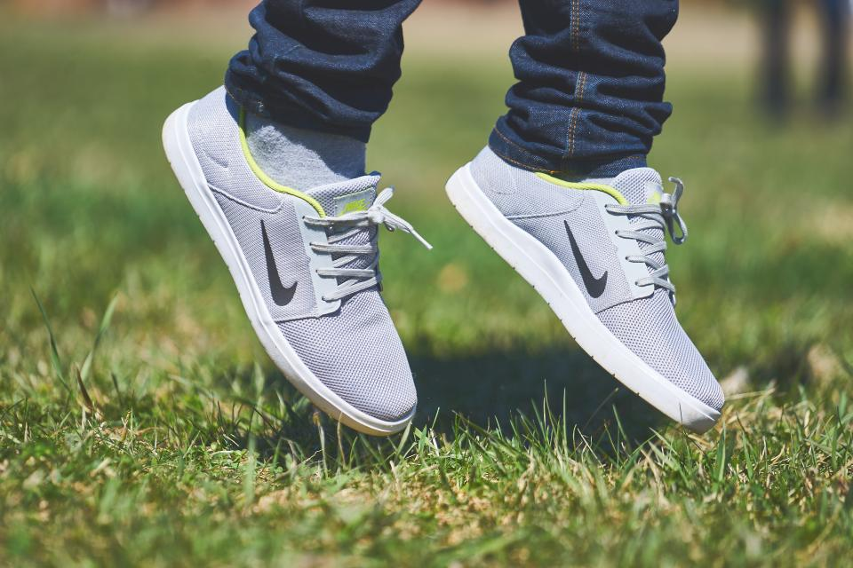 nike, shoes, sneakers, jump, jumping, green, grass, lawn, outdoors, nature