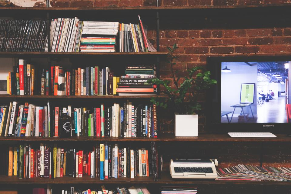 books, bookshelf, magazines, reading, office, brick, monitor, screen, tv