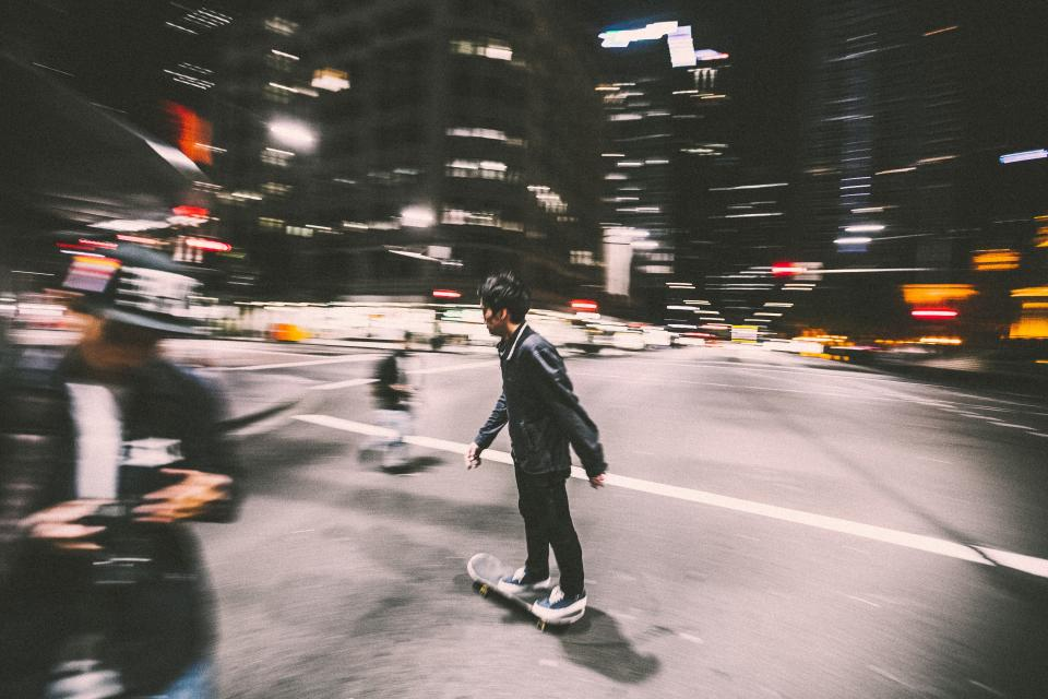 skateboard, skateboarding, skater, people, streets, roads, city, urban, night, dark, evening, intersection, lifestyle, buildings, lights