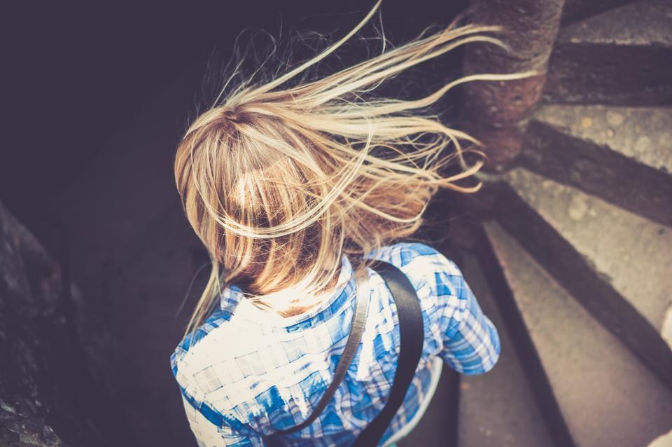 girl, woman, blonde, hair, fashion, stairs, stairwell, sunshine, summer, people