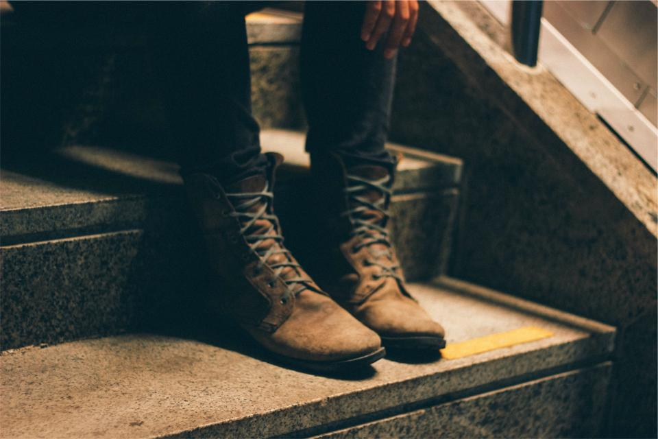boots, shoes, laces, steps, stairs, fashion