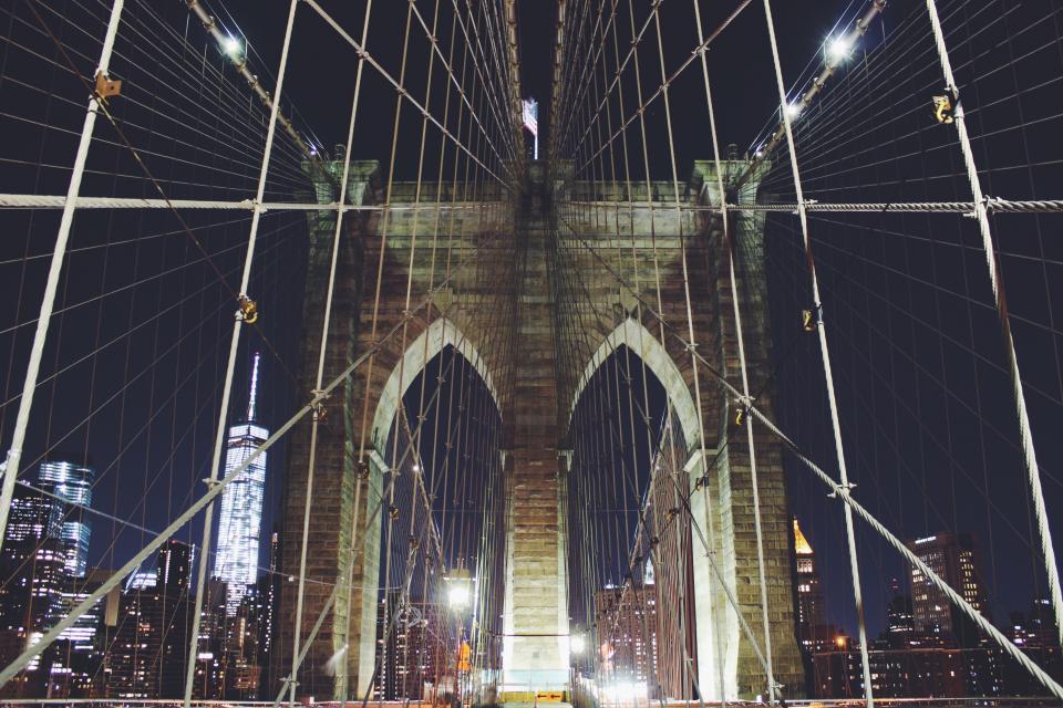 Brooklyn bridge, architecture, New York, city, night, evening, lights