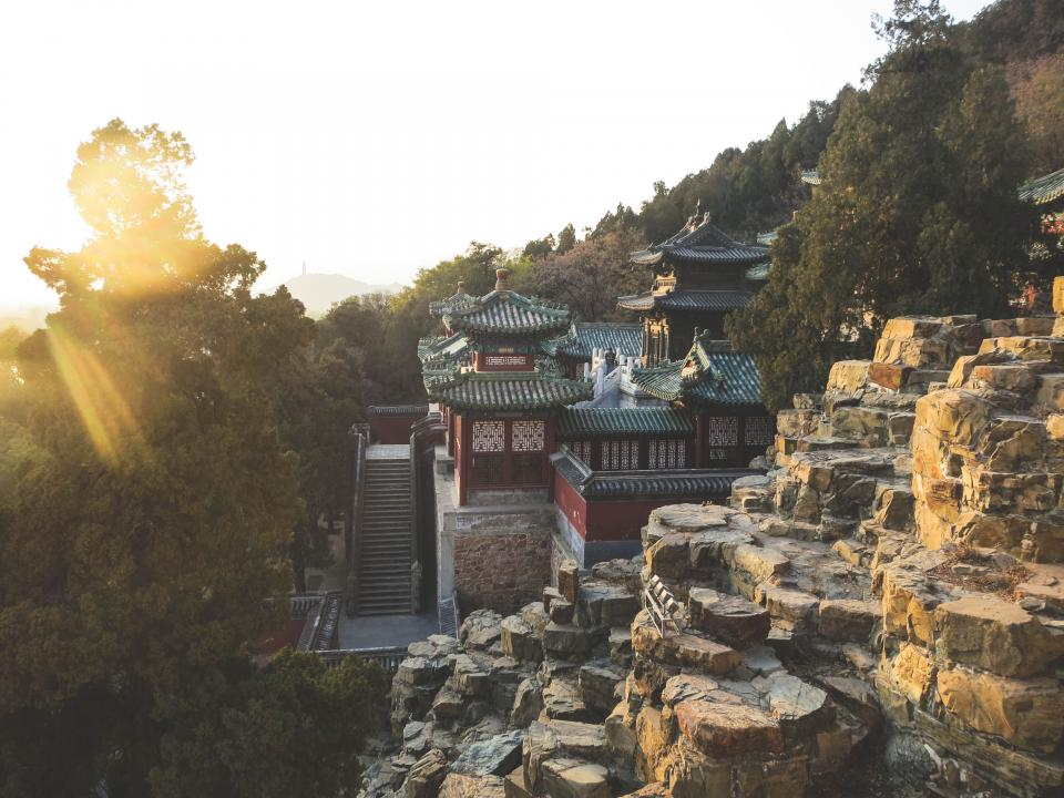 Summer Palace, Beijing, China, rocks, cliffs, steps, trees, hill, roof, sunshine