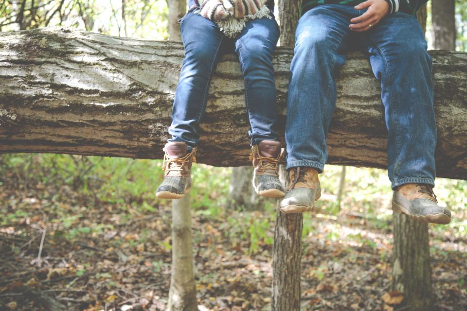 forest, woods, trees, log, nature, people, jeans, boots, outdoors, leaves