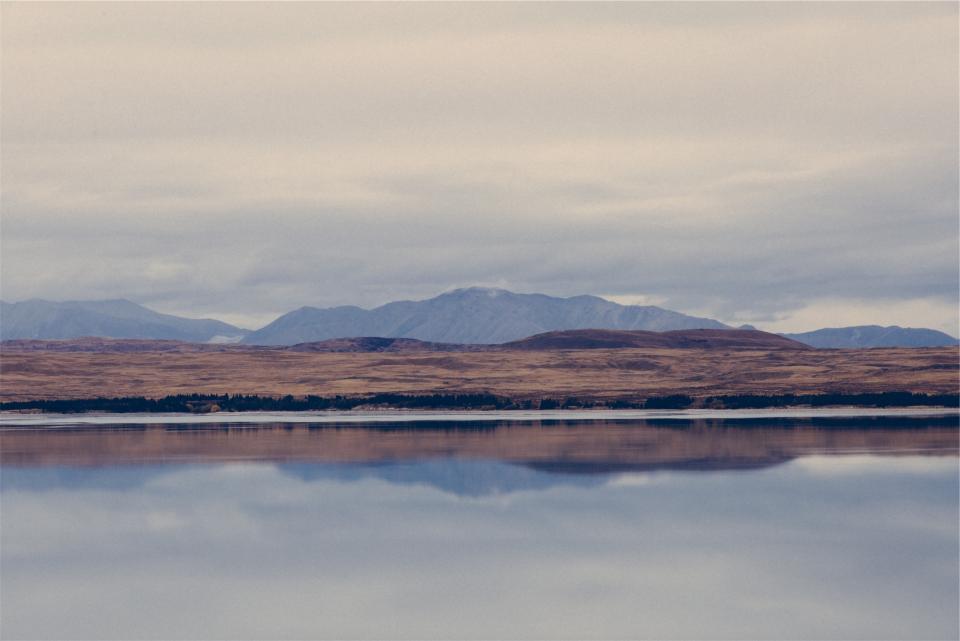 lake, water, landscape, mountains, fields, sky, clouds