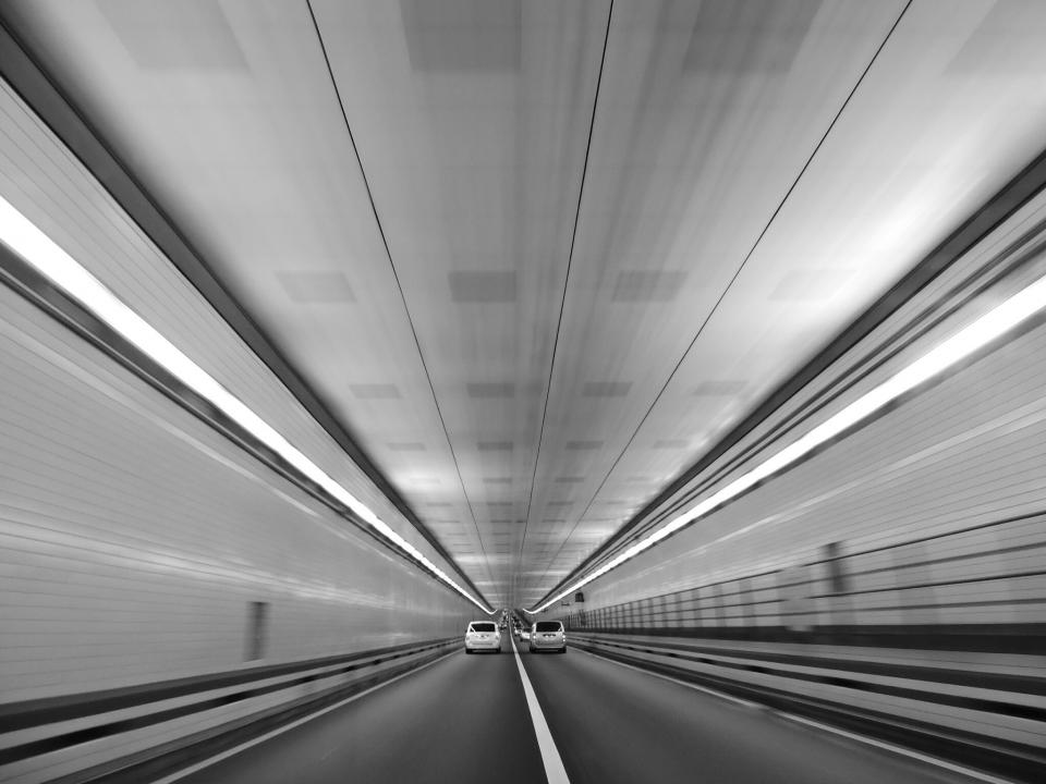 road, tunnel, cars, driving, black and white