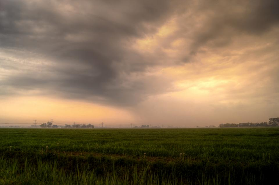fields, storm, cloudy, sky, clouds, rural