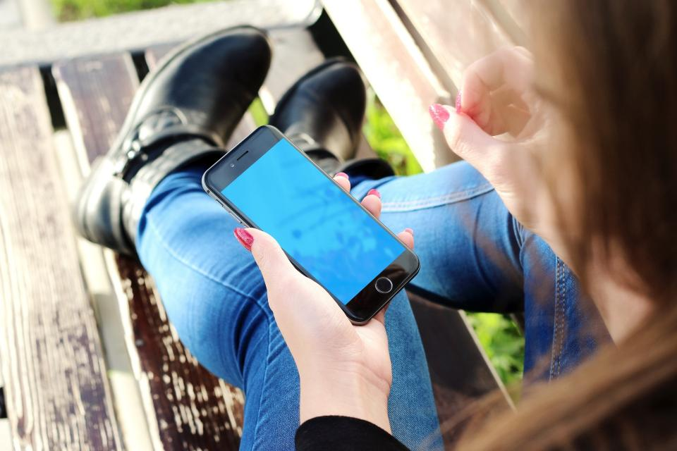 iphone, mockup, cell phone, apple, technology, hands, girl, mobile