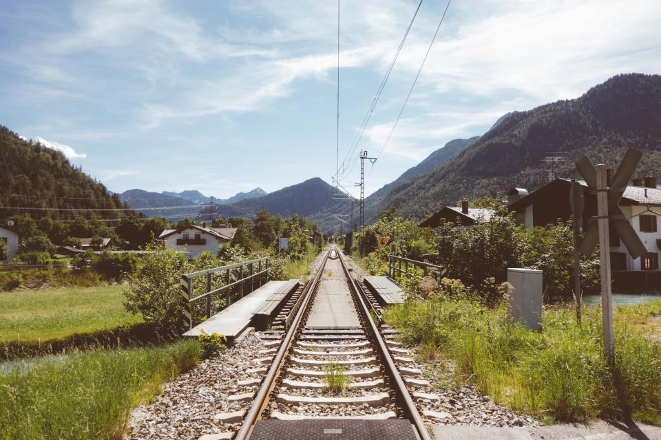 railroad, railway, train tracks, town, village, mountains, hills, valley, nature, outdoors, sky