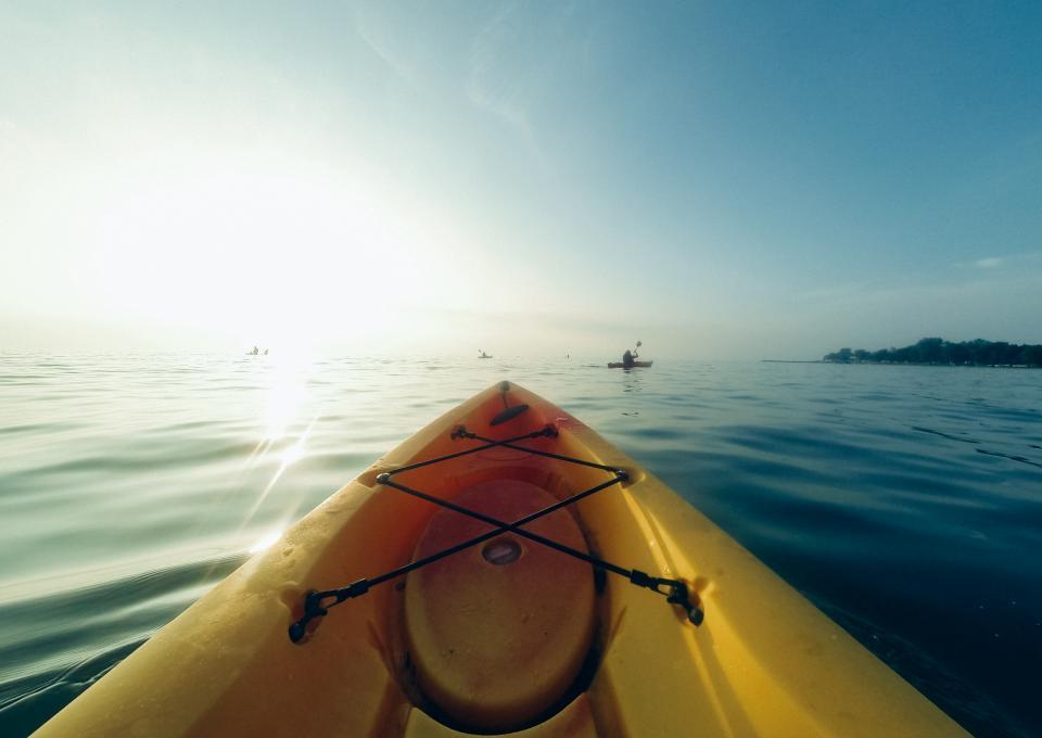kayak, lake, water, sunshine, sports, fun, adventure, landscape, blue, sky, summer, nature